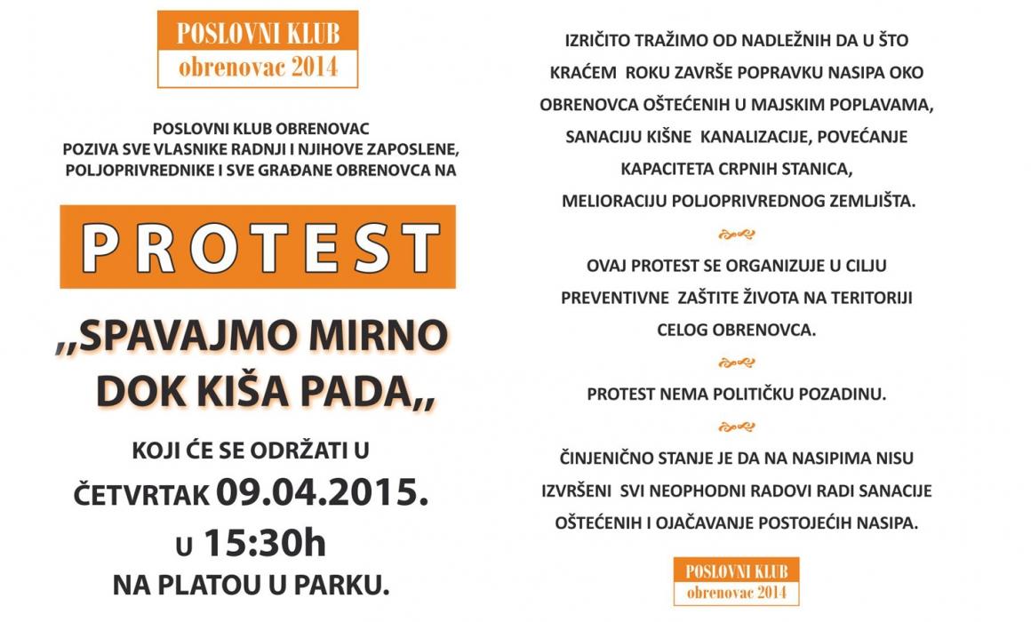 Poslovni klub Obrenovac Vas poziva na protest