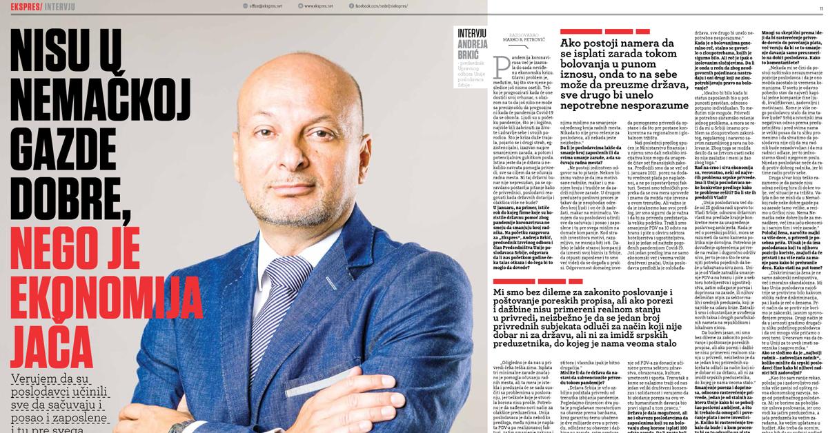 Andreja Brkić - predsednik IO Unija poslodavaca Srbije - intervju za nedeljnik Ekspres