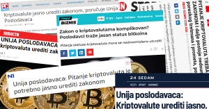 Mediji o Unija poslodavaca Srbije decembar 2020 kriptovalute zakon